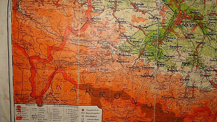 Mapa z powojennymi nazwami miejscowości na naszym terenie. Foto: Krzysztof Tęcza