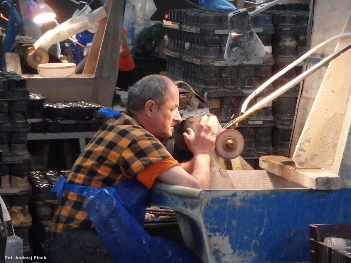 Szlifiernia kryształów w Hucie Julia w Piechowicach