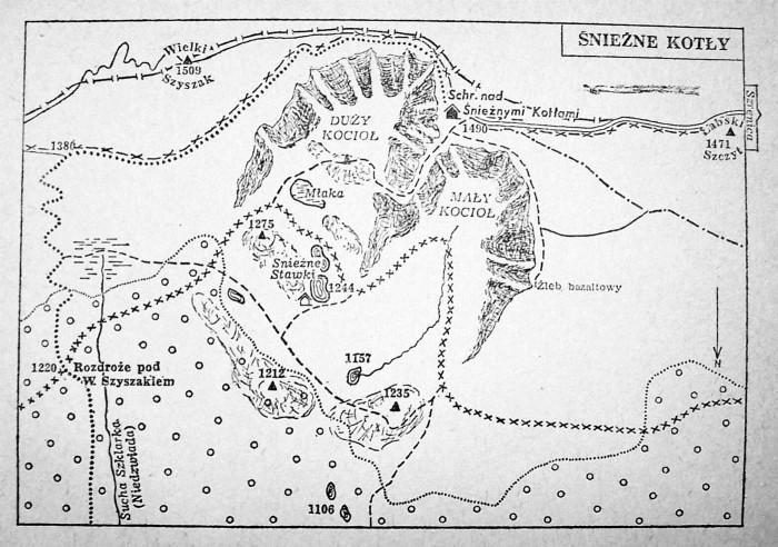Mapka Śnieżnych Kotłów z przewodnika Tadeusza Stecia (1965). Drugą, oprócz chatki PTG ciekawostką na tym szkicu, jest zaznaczony dawny, bardzo atrakcyjny szlak niebieski prowadzący przez Grzędę na grzbiet; jeszcze w latach 70. znakowanie tego szlaku było widoczne.