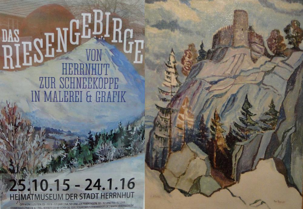 Plakat wystawy i obraz Ericha Scholtisa przedstawiający zamek Chojnik. Foto: Krzysztof Tęcza
